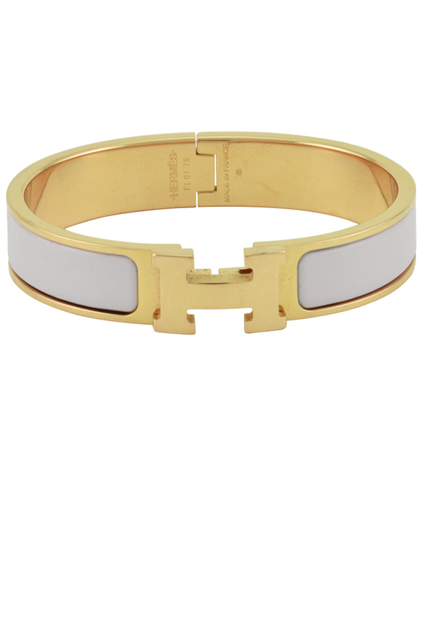 Hermes - Narrow Clic H Bracelet (Gray/Rose Gold Plated) - PM