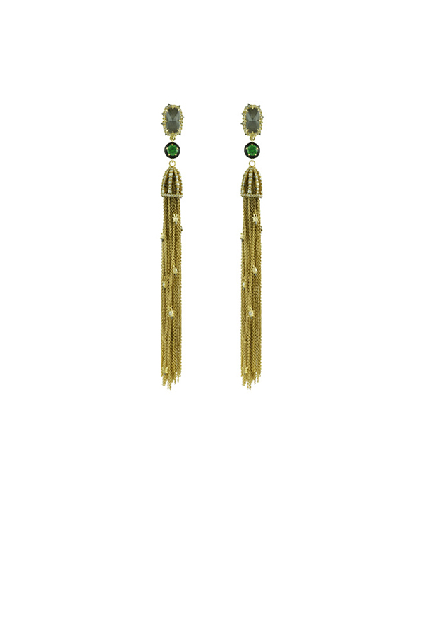 Alexis Bittar - Gold Cascading Crystal Tassel and Enamel Earrings