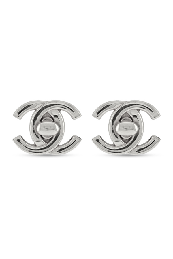Chanel - Large Vintage Turn Lock Logo Clip On Earrings  Silver  View 2