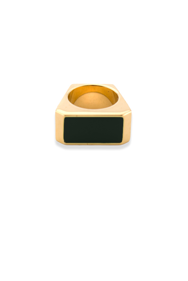 Yves Saint Laurent - Color Block Rectangle Ring (Black) - Size 6