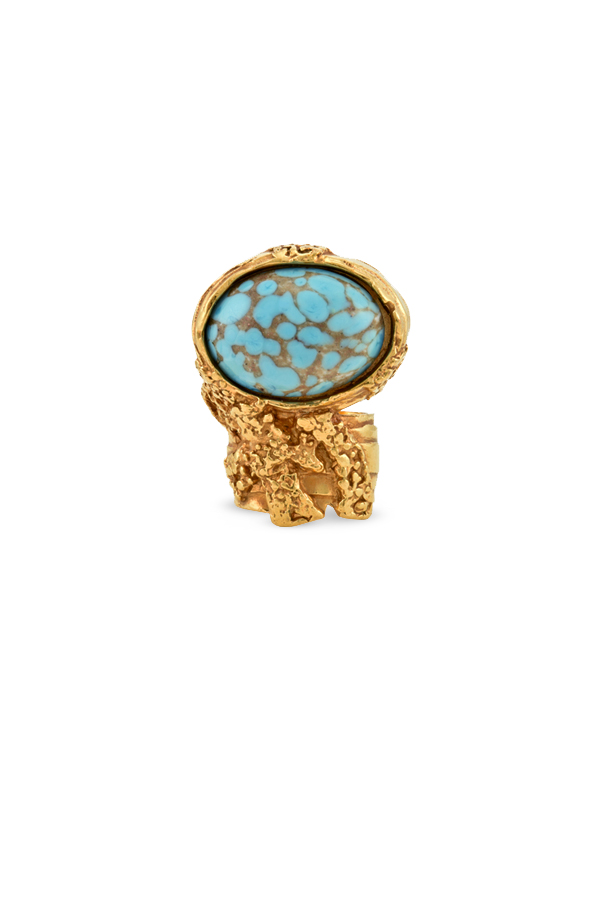 Yves Saint Laurent - Arty Oval Ring (Turquoise) - Size 6