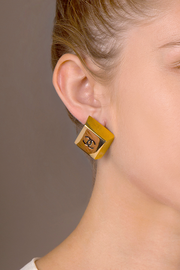 Chanel - Rectangle CC Clip On Earrings
