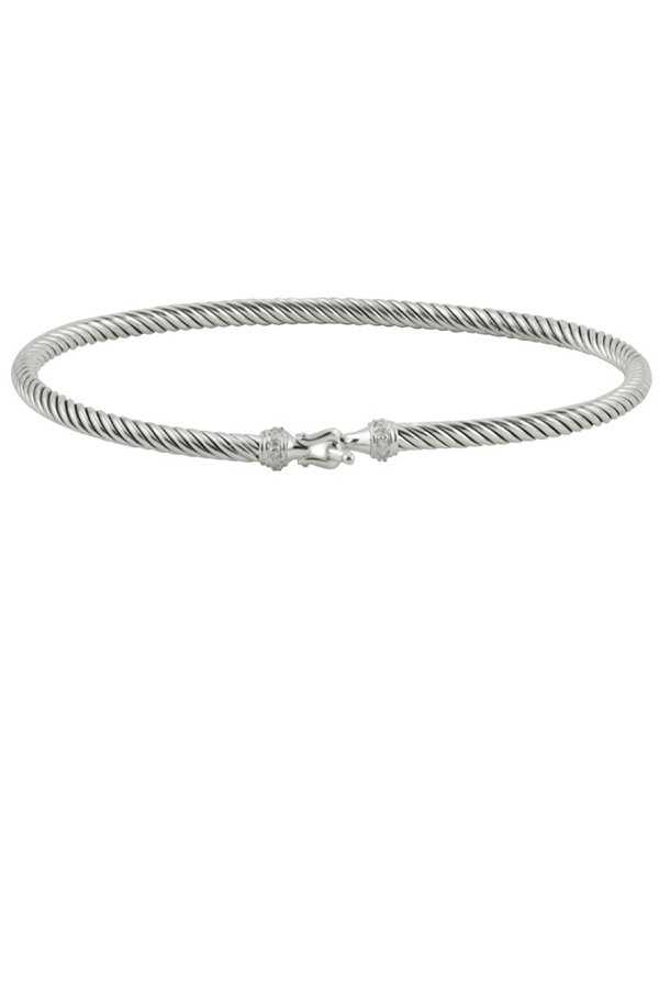 David Yurman - 3 mm Cable Buckle Bracelet With Diamonds