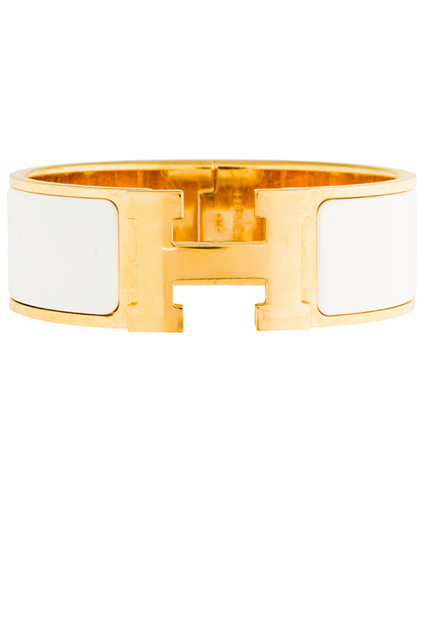 Hermes - Wide Clic H Bracelet  White Yellow Gold Plated    GM View 1