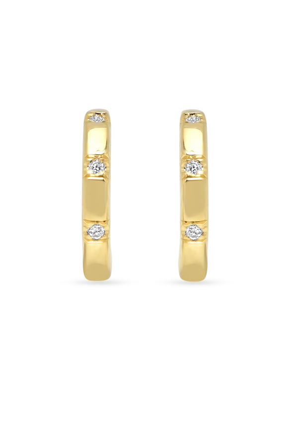 Switch - Simple Diamond Huggie Earrings  18k Yellow Gold  View 2