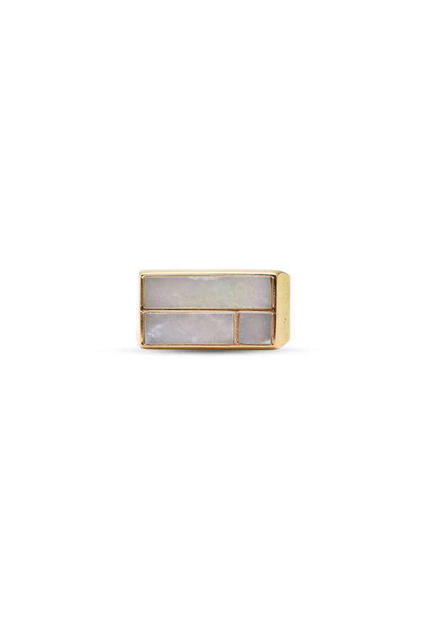 Aurelie Bidermann - Bianca Mother Of Pearl Cocktail Ring   Size 7 View 1