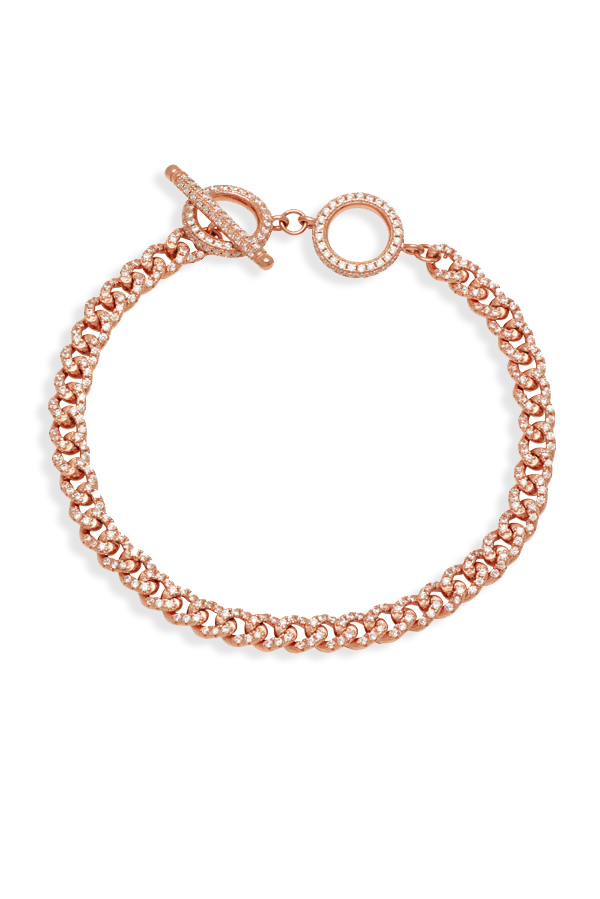 DND - Accented Link Toggle Bracelet (14k Rose Gold-Plated)