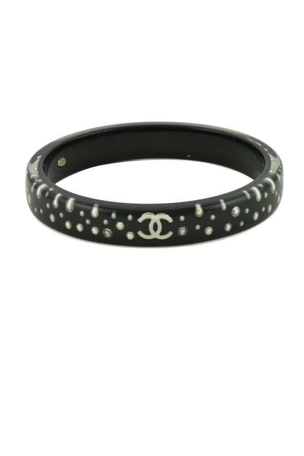 Chanel - Black resin and faux pearl bangle
