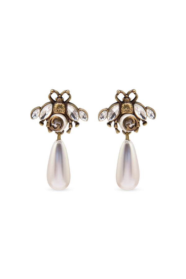 a006f6dc2 Gucci Faux Pearl & Crystal Bee Drop Earrings | Rent Gucci jewelry ...