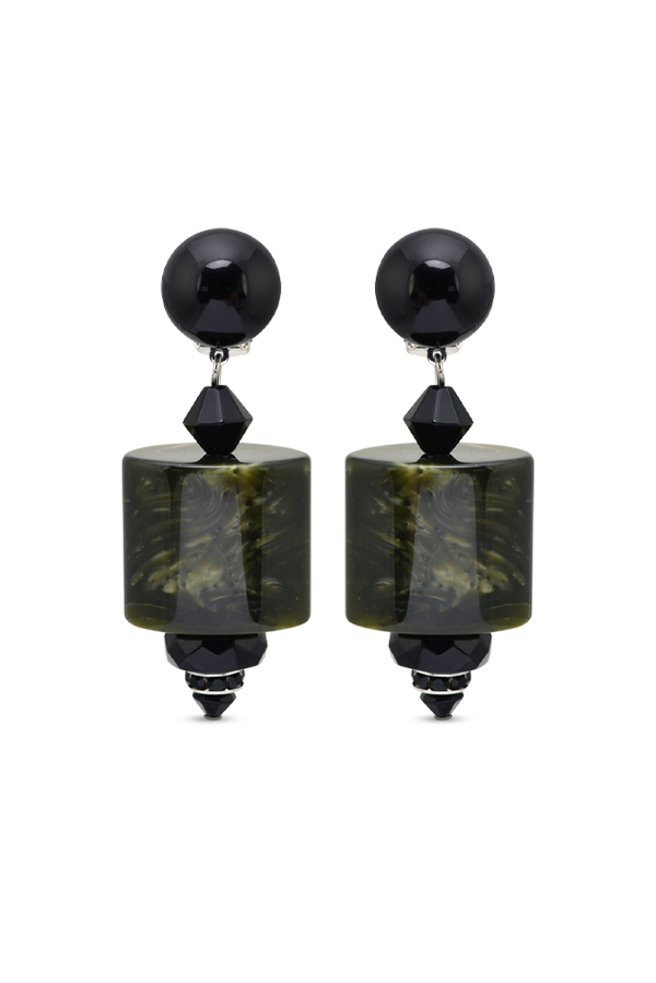 Angela Caputi - Marble Earrings (Green/Black)