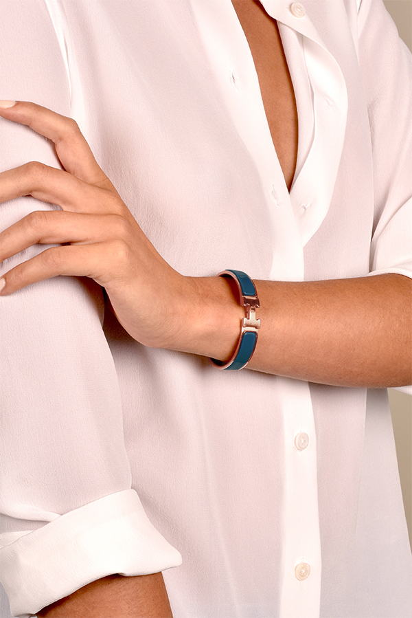 Hermes - Narrow Clic H Bracelet (Biarritz Blue/Rose Gold Plated) - PM