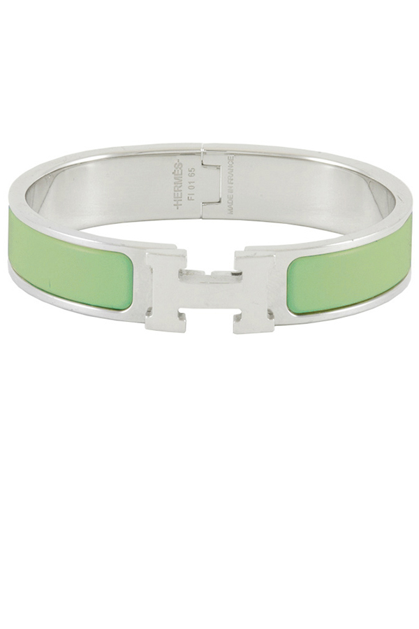 Hermes - Narrow Clic H Bracelet  Pistachio Green Palladium Plated    PM View 1