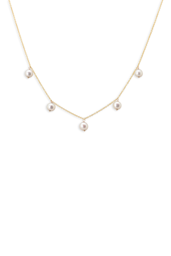 Chains and Pearls - Pearl Station Necklace (14k Yellow Gold)