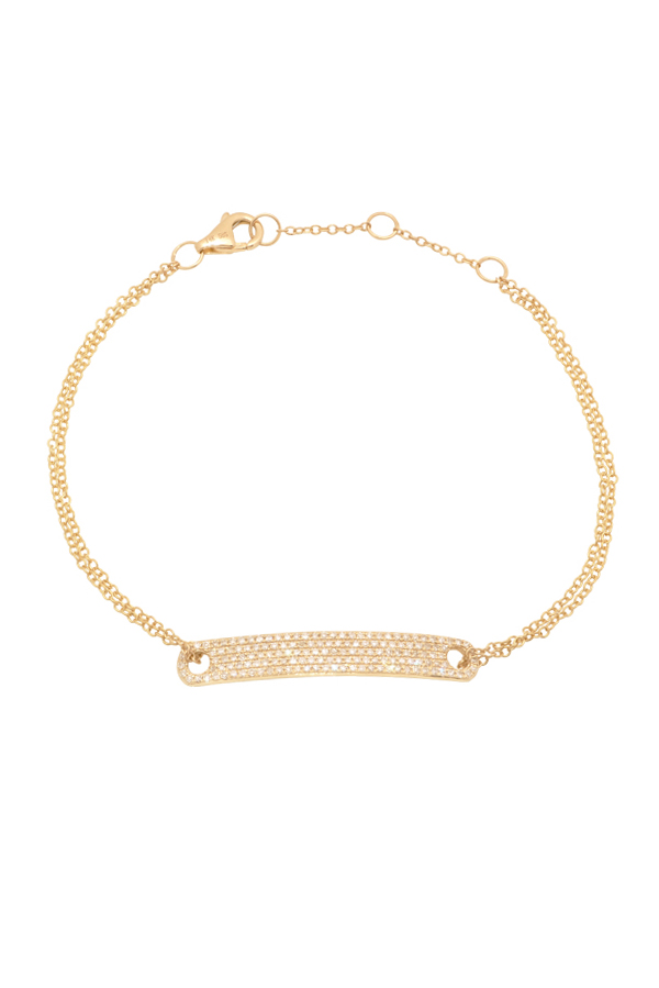 Yu  - Diamond Tag Chain Bracelet (14k Yellow Gold)