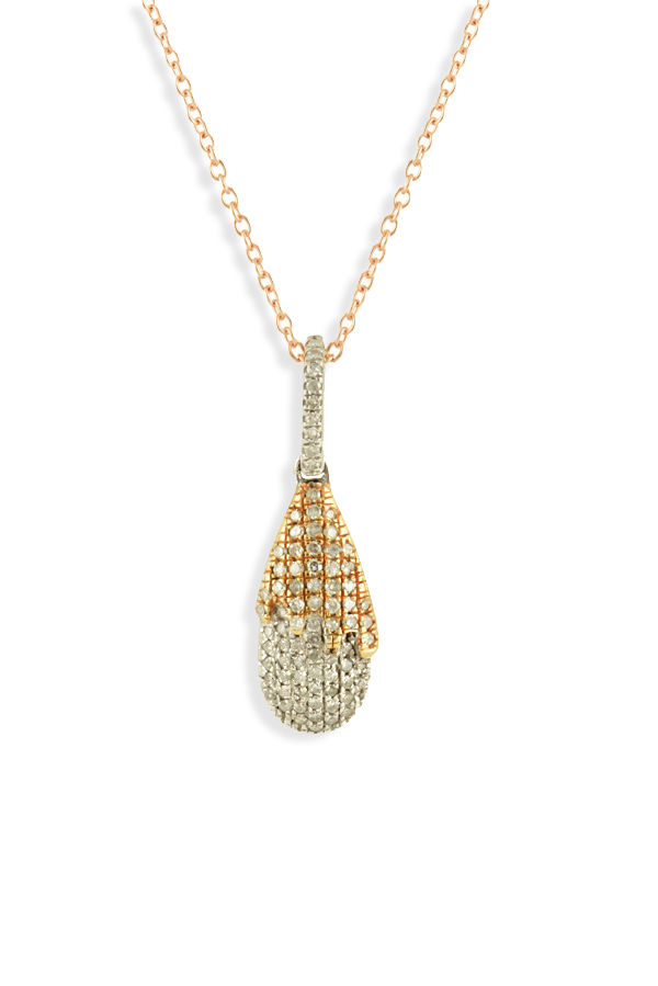 Yu  - 14k Rose Gold Diamond Tear Drop Pendant Necklace