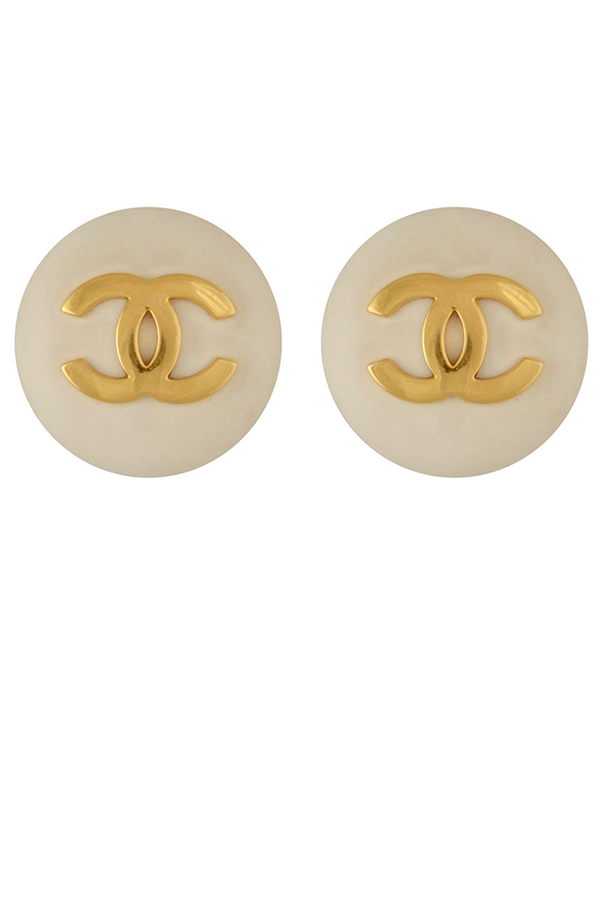 Chanel - Logo Round Clip-On Earrings (White)