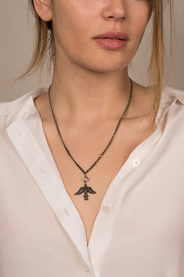Gucci - Faux Pearl Bird Pendant Necklace