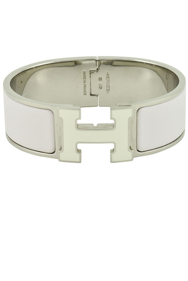 Hermes - Wide Clic H Bracelet (Baby Pink and White/Palladium Plated)
