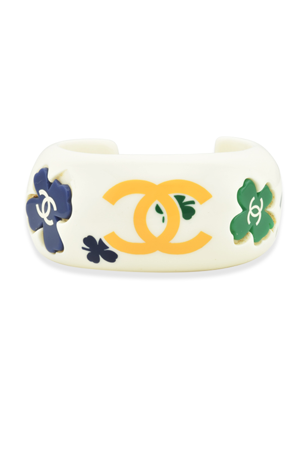 Chanel - White Resin And Flower Bangle