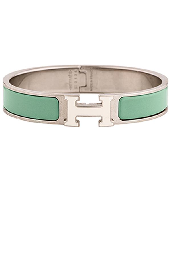 aa7f34479a Hermes Narrow Clic H Bracelet (Lagoon Blue/Palladium Plated) - PM ...