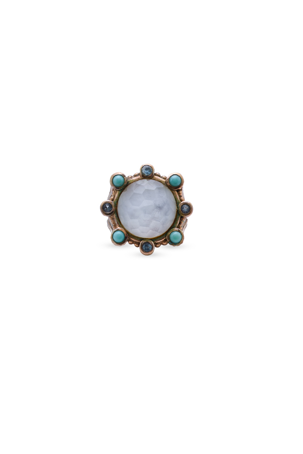 Stephen Dweck - Mother of Pearl and Turquoise Stone Ring - 7