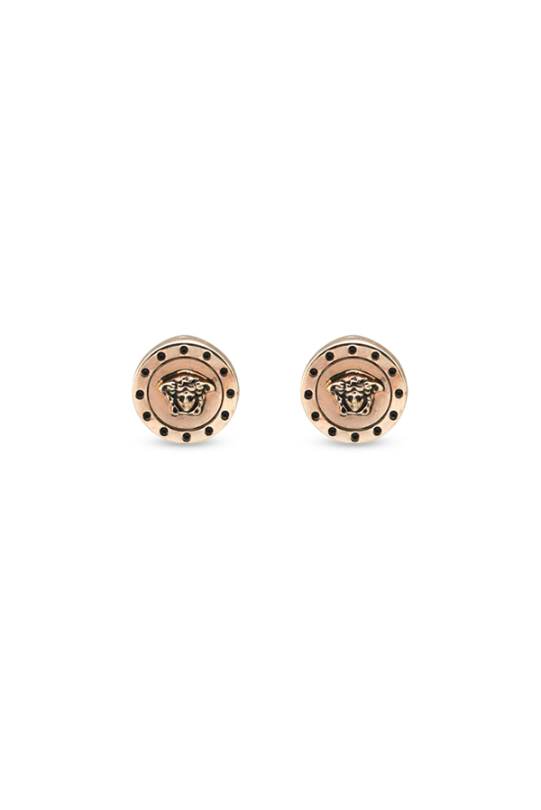 Versace - Rose Gold Medusa Dotted Earrings View 1