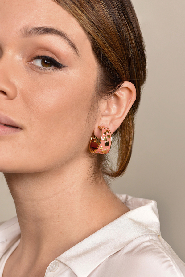 Yves Saint Laurent - Enamel Hoop Clip On Earrings