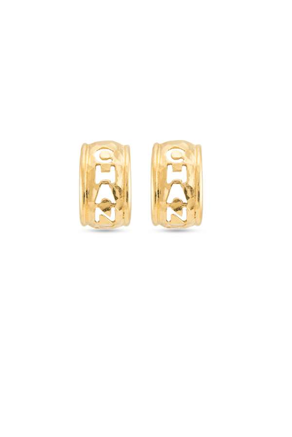 Chanel - Vintage Cut Out Chanel Huggie Clip On Earrings