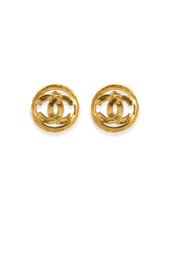 Chanel - Medium Vintage Thick Hammered Logo Cut Out Clip On Earrings
