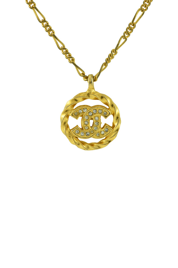 Chanel - Vintage Embellished CC Logo Cut Out Pendant Necklace