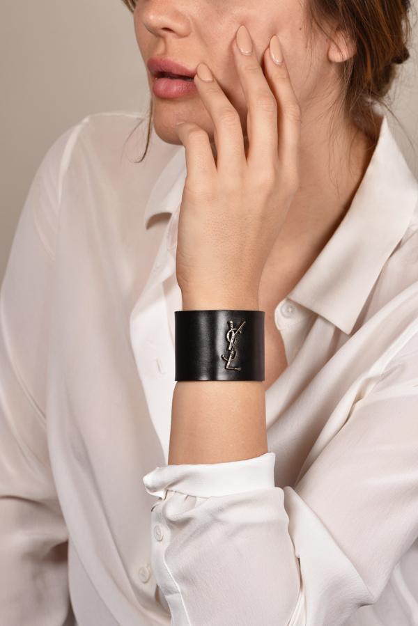 7b823b8d3d Yves Saint Laurent Black Logo Leather Bracelet | Rent Yves Saint ...
