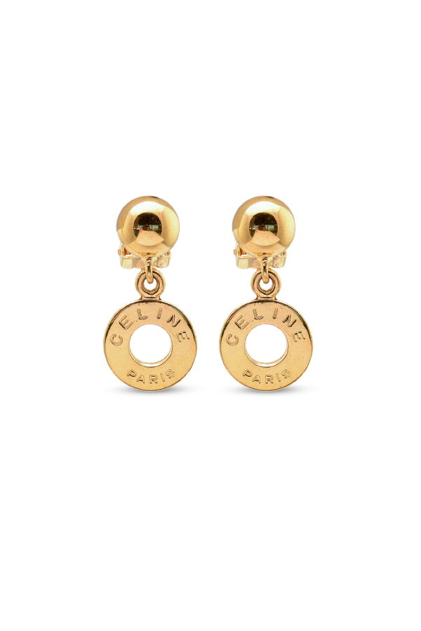 Celine - Vintage Round Ring Motif Clip On Earrings View 1