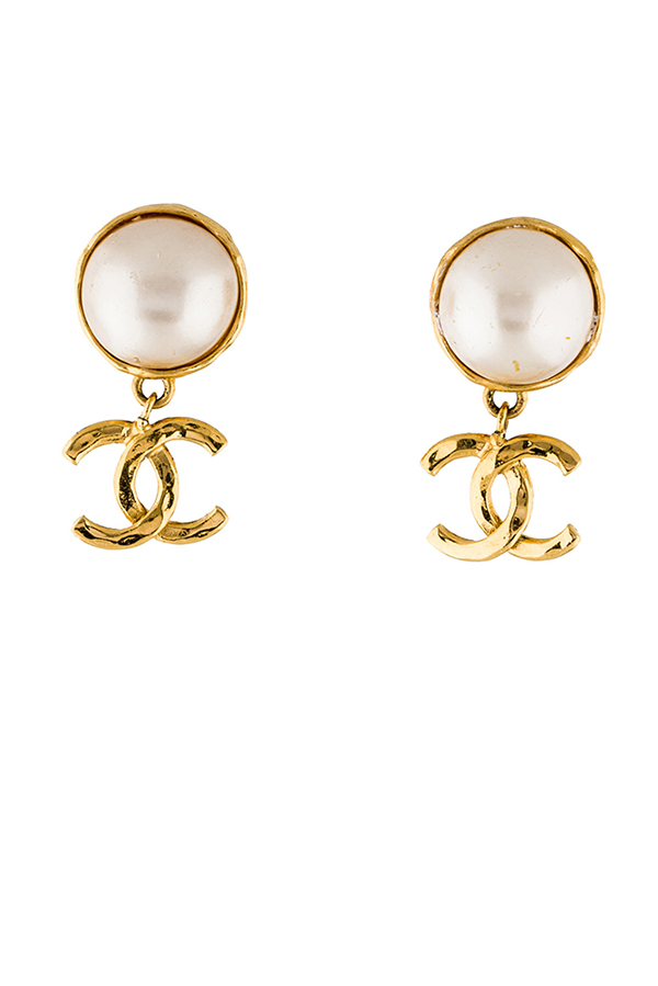 Chanel - Glass Pearl Earrings
