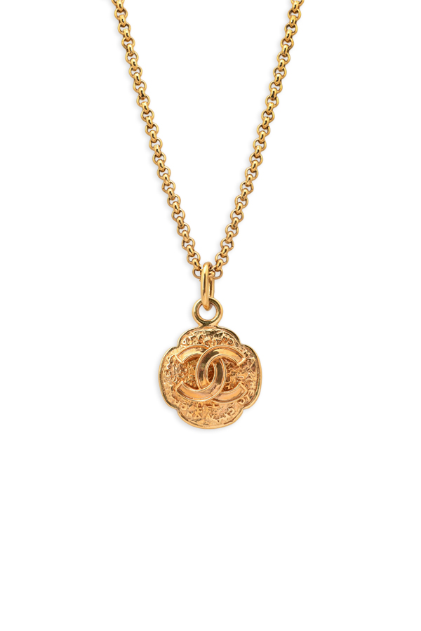 538ae8a04aaee4 Chanel Vintage CC Logo Flower Pendant Necklace   Rent Chanel jewelry ...