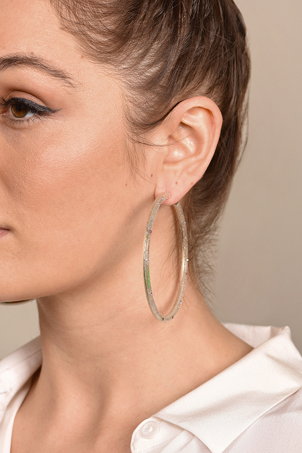 Chanel - Glitter Crystal Lucite Hoop Earrings View 2