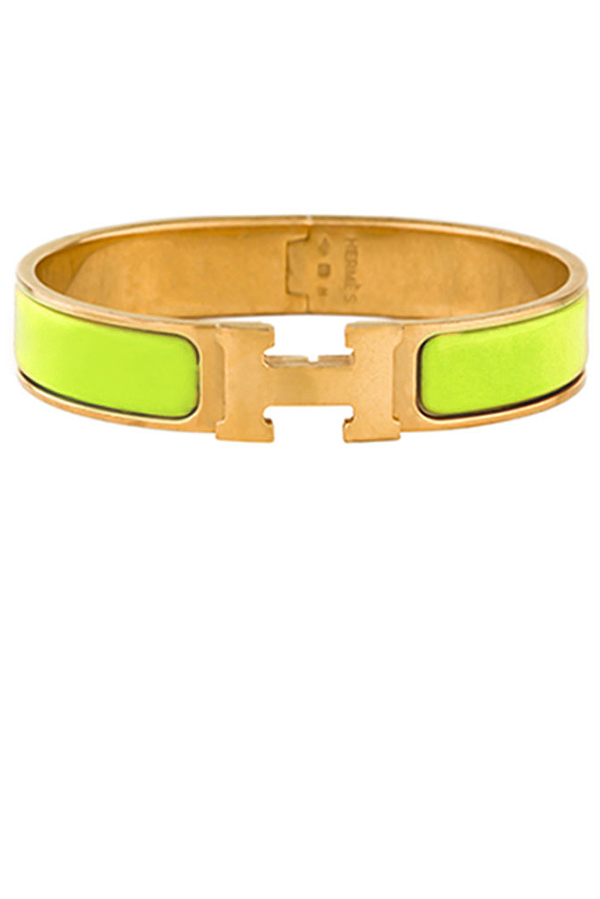 Hermes - Narrow Clic H Bracelet (Lime Green/Yellow Gold Plated) - PM