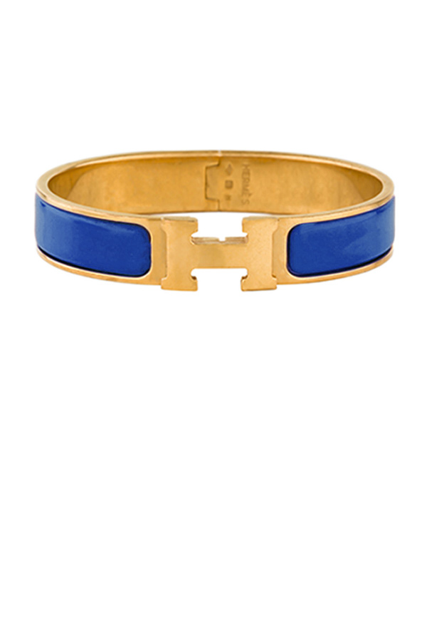Hermes - Narrow Clic H Bracelet (Electric Blue/Yellow Gold Plated) - PM