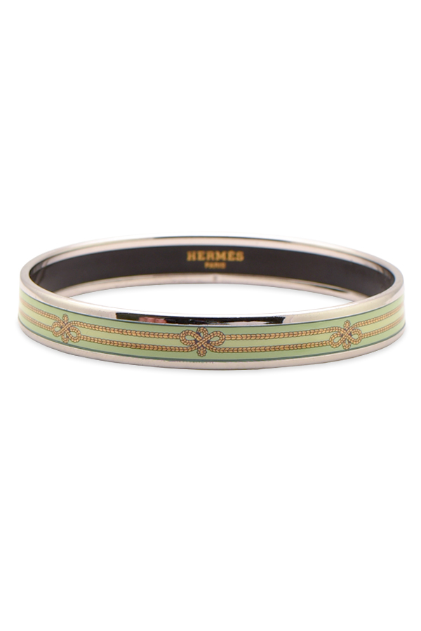 Hermes -  Narrow Enamel Bangle  Green Bows  View 1