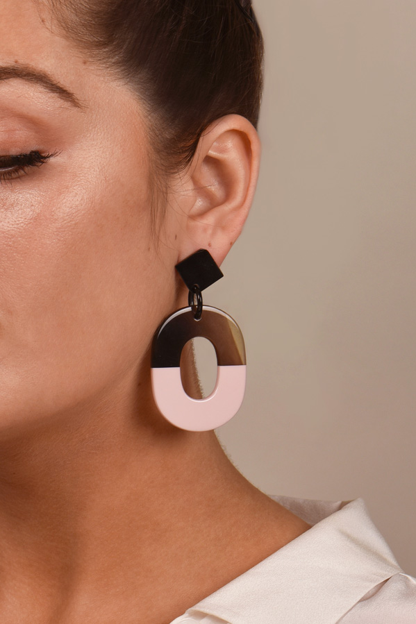 Hermes - ISTHME Earrings (Pink and Brown)