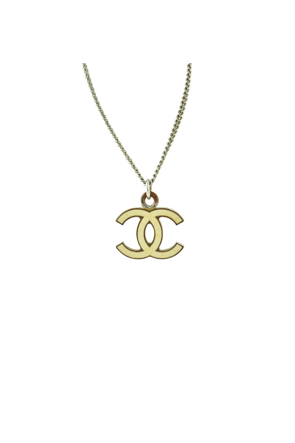 Chanel - CC Yellow Enamel Pendant Necklace