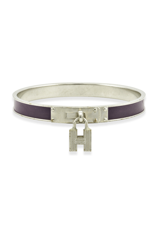 Hermes - Kelly Cadena Lock Bangle (Purple Lizardskin)