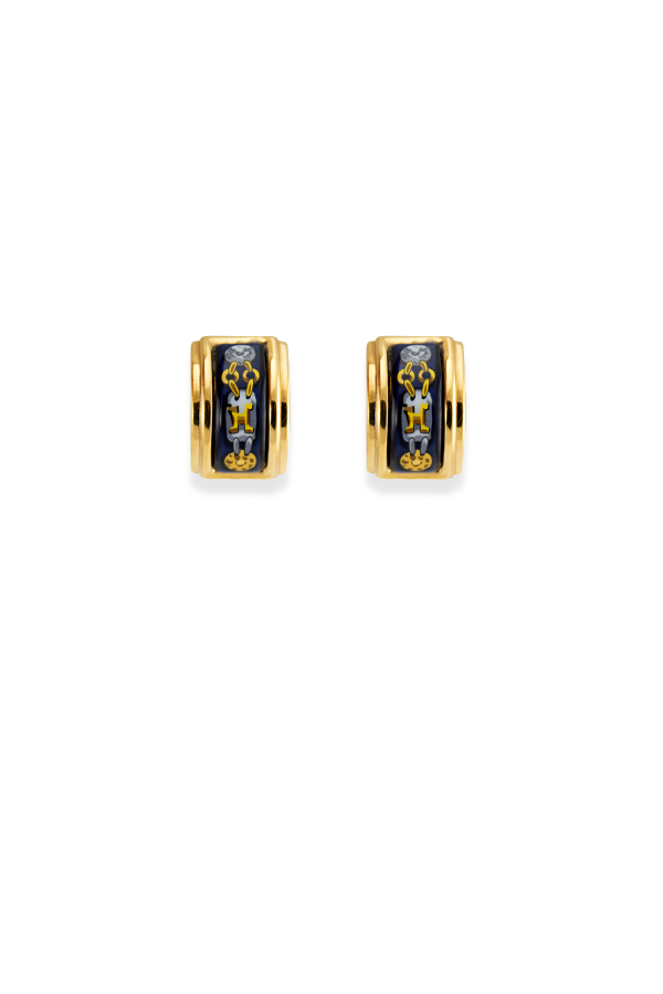Hermes - Navy Enamel Clip On Earrings (Chain Link)