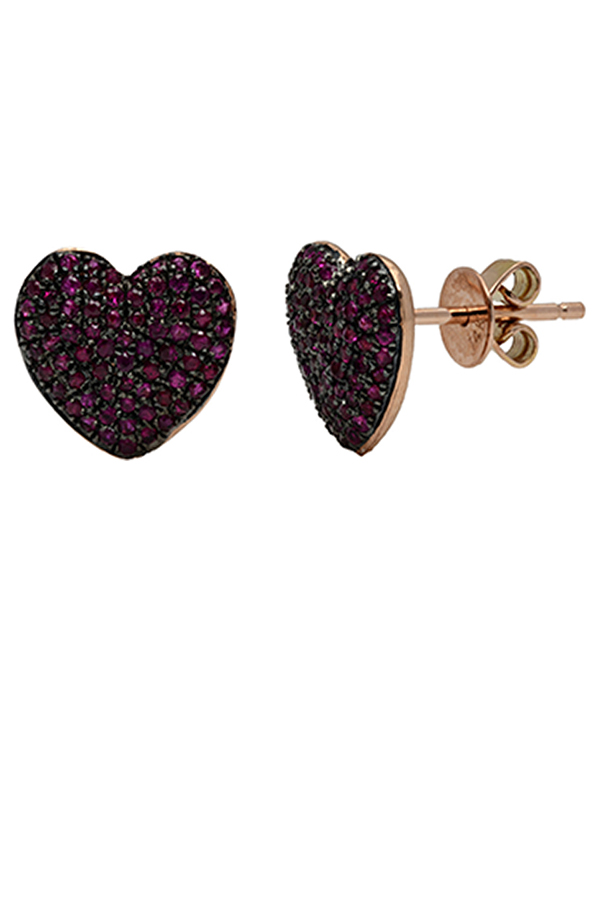 Chains and Pearls - Bliss Heart Studs