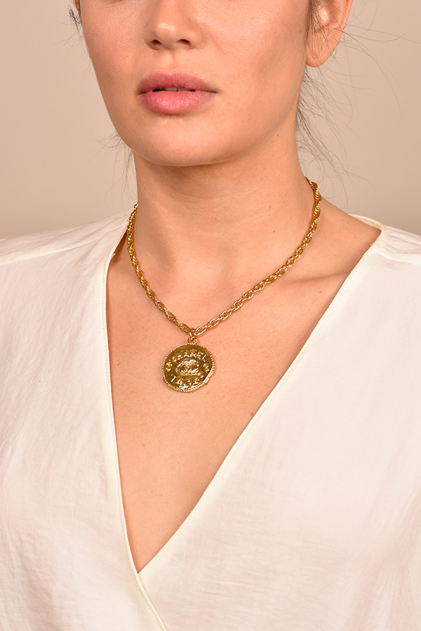 Chanel - Vintage Hammered Medallion Pendant Necklace View 2