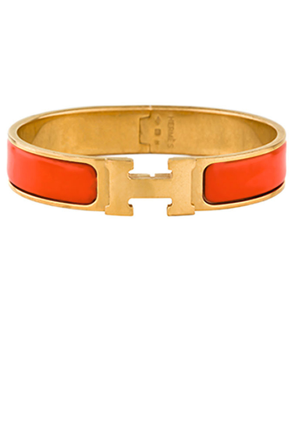 Hermes - Narrow Clic H Bracelet (Red-Orange/Yellow Gold Plated) - GM