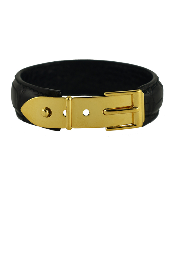 Gucci - Vintage Narrow Logos Leather Bangle (Textured Black)