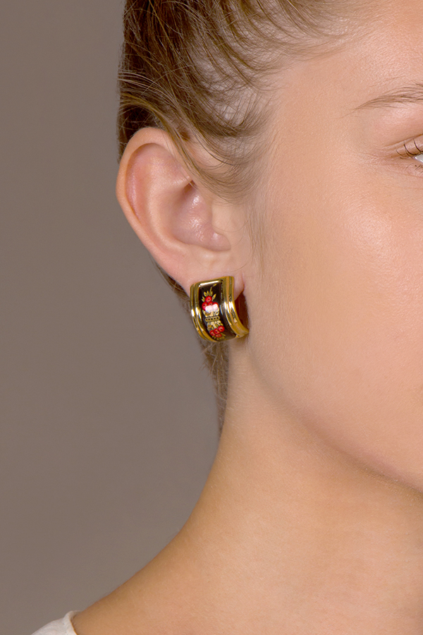 Hermes - Enamel Clip On Earrings (Black/Red)
