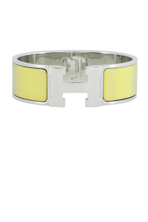 Hermes - Wide Clic Clac H Bracelet (Jaune Canary/Palladium Plated) - GM