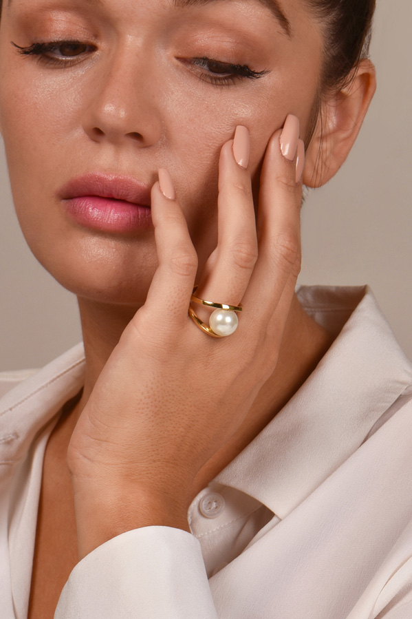 Lele Sadoughi - Faux Pearl Pebble Ring - Size 7.5