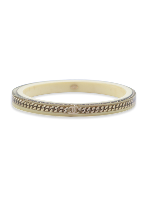 Chanel - Vintage Beige Resin Curb Chain Bangle View 1